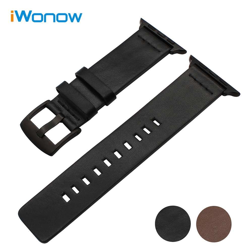 Italian Calf Leather Watchband for iWatch Apple Watch 38mm 42mm Series 1 2 3 Wrist Band Stainless Steel Buckle Strap Black Brown 6 colors luxury genuine leather watchband for apple watch sport iwatch 38mm 42mm watch wrist strap bracelect replacement