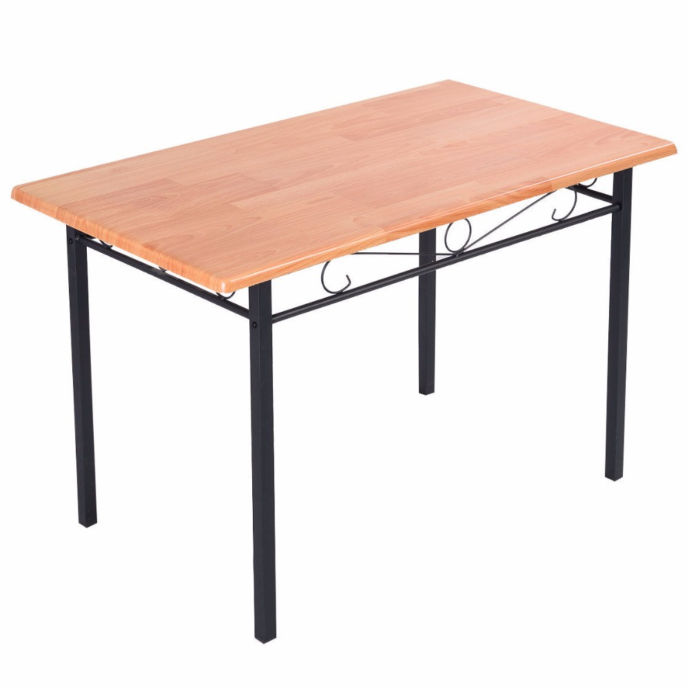 Steel frame dining table kitchen modern furniture bistro home durable wood new hw50130