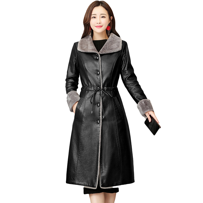 2018 Winter New Long Leather Jackets Lamb Fur Plus Size Velvet Thick Coats Women Warm Leather Outerwear Fashion Elegant Parkas