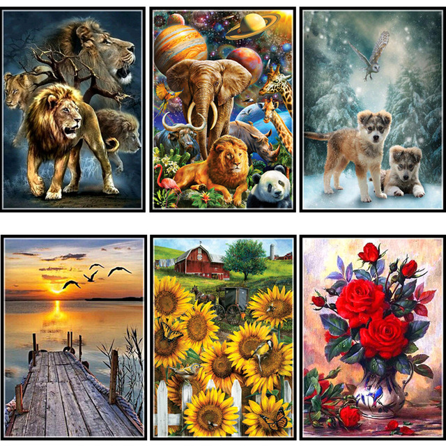 DIY diamond painting cross stitch mosaic full circle 5D  flower animal home decoration embroidery childrens gift
