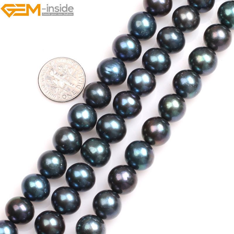 Gem-inside Natural Black with Peacock Green luster Round Cultured Freshwater Pearls Beads for Jewelry Making 15 DIY Jewellery