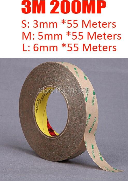 1x3mm (ou 5mm/6mm) * 50 M 3 M En Utilisant Largement pour la Bande de LED Bond 200MP Forte Double Ruban Adhésif, haute Température Resist Étanche