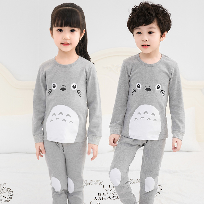 Pants Pajamas-Sets Clothing Children's Nightwear Sleepwear Girl Boys Cotton Cartoon Autumn