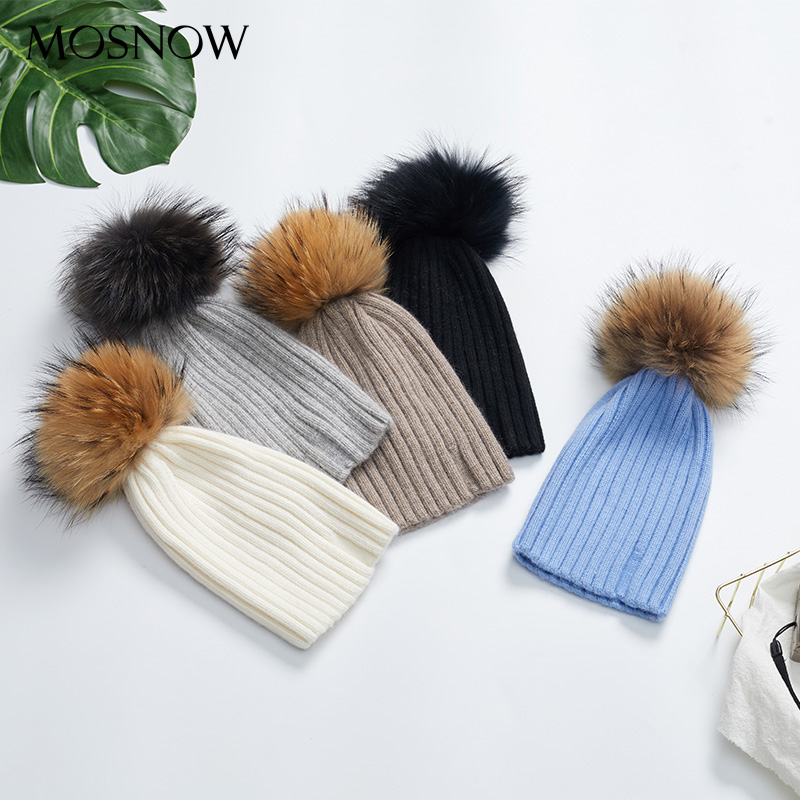 5eac82c6b0d25 2018 Women s Winter Beanies For Ladies Classic Pom Pom Straight Hat Female  Warm Rabbit Knitted Hats Solid Color Outdoor Headwear-in Skullies   Beanies  from ...