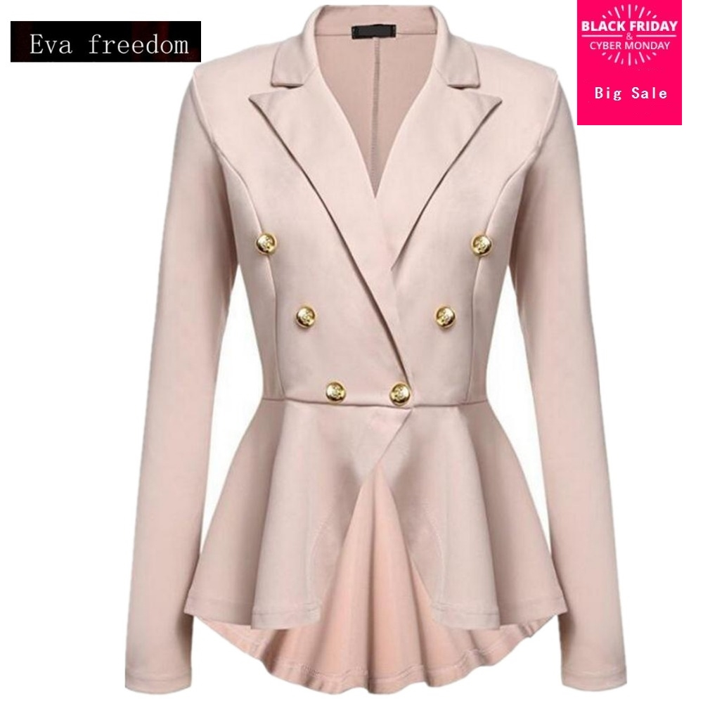 S-2XL 8color 2019 Autumn Female Korean Slim Was Thin Metal Button Blazer Solid Color Double-breasted Jacket Wj1014 Free Shipping