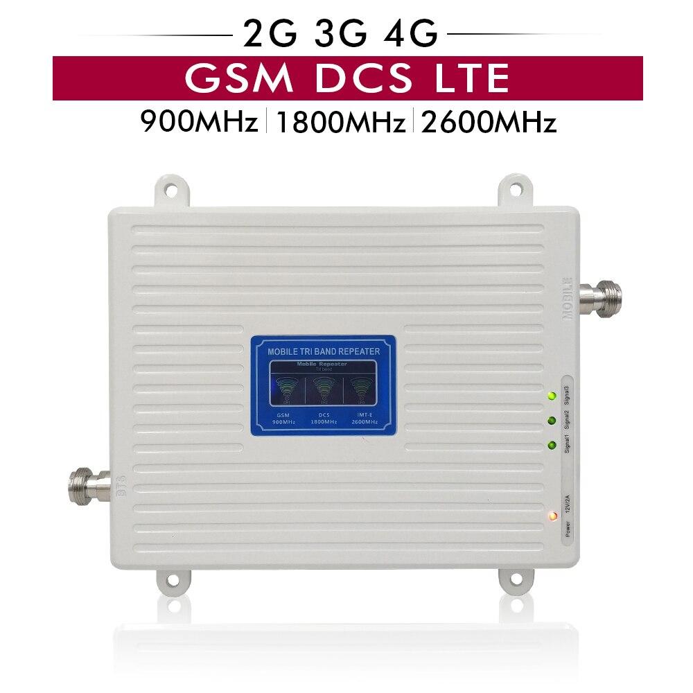 70dB Gain 23dBm 2G 3G 4G Triple Bande Booster GSM 900 DCS 1800 LTE 2600 MHz Bande 8/7/3 téléphone portable Répéteur de Signal Avec Écran LCD
