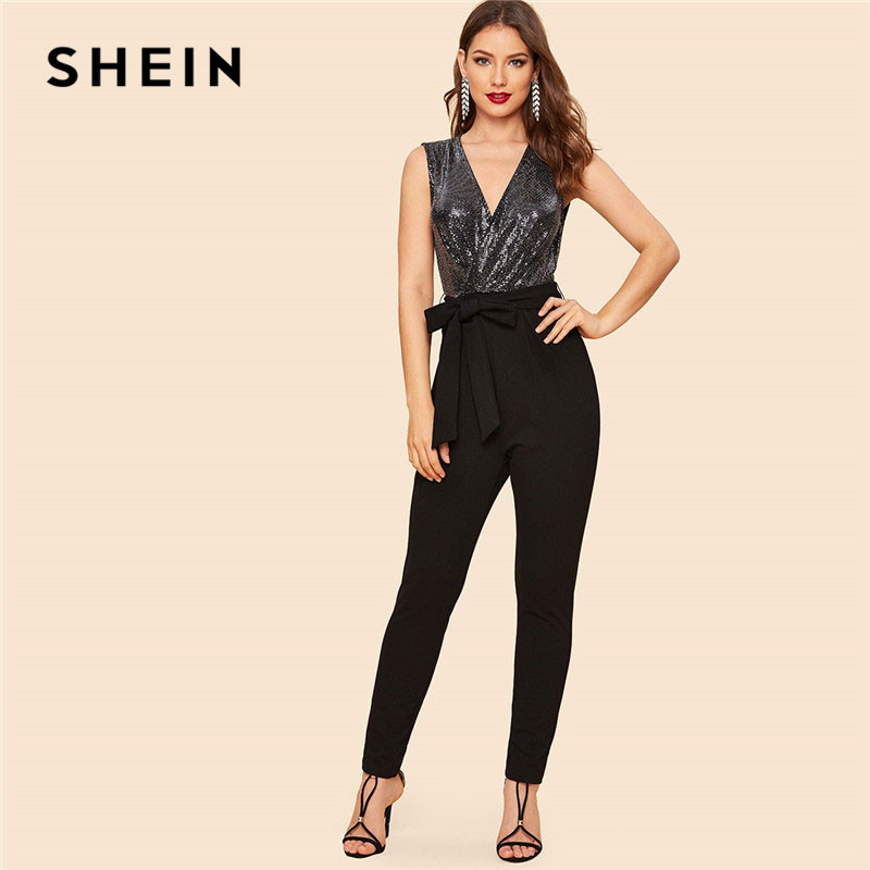 SHEIN Black Vintage Sequin Bodice Wrap Jumpsuit With Belt Summer Sleeveless Deep V Neck Going Out Skinny Women Jumpsuits