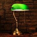 Классический Ретро Зеленый настольные лампы с выдвижной выключатель цепи Акриловые абажур Кронштейн сплава спальня прикроватные office старинные настольные лампы