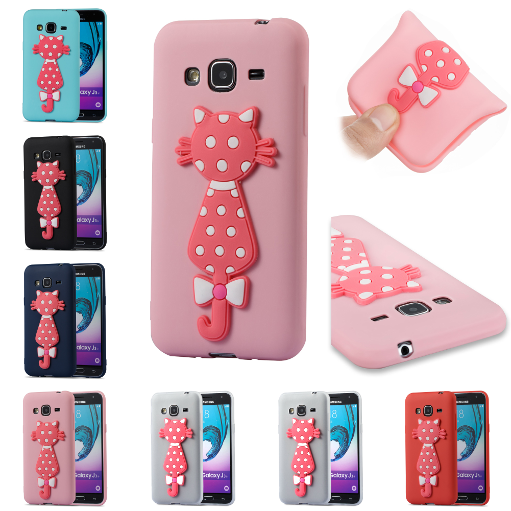3D Cat Cartoon Silicone Soft Kryty Shell Cover Cubierta For Samsung Sumsung Galax J3 2016 j 310 J320