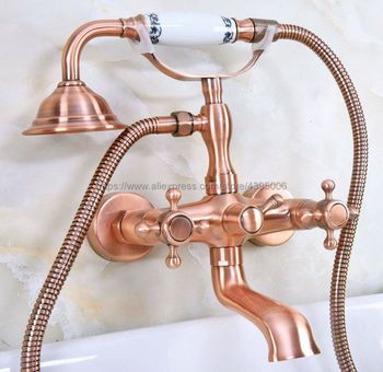 Antique Red Copper Dual Handle Wall Mounted Bathtub Faucet Telephone Style Hand Held Shower Tub Mixers Tap Bna341