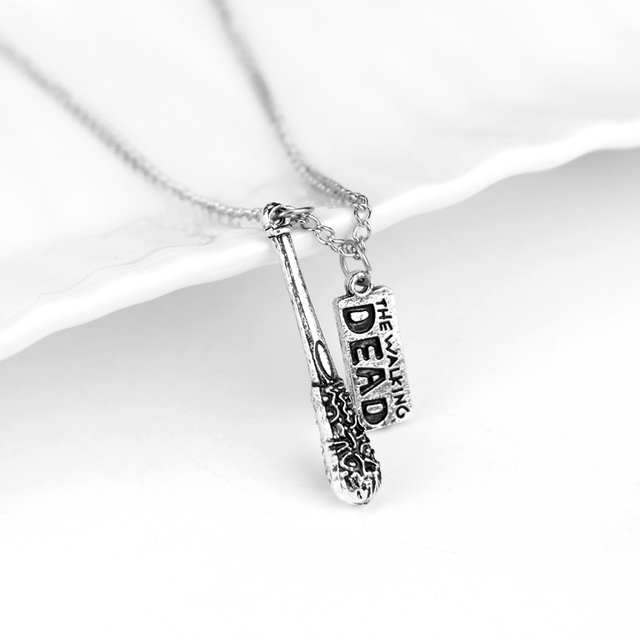 Walking Dead Cudgel and letter Pendant Necklace Men Accessories Collares Male Collier Choker Necklace Jewelry