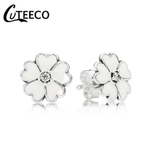 CUTEECO Simple Cute White Daisy White Enamel Stud Earrings 2019 New Fashion Brand Earring For Women Jewelry brand new brand new daisy cd