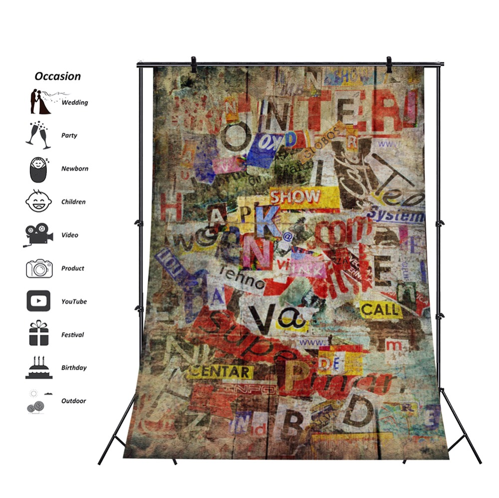 Laeacco Grunge Alphabet Graffiti Wall Newpaper Party Decor Photo Backdrops Baby Party Photo Backgrounds Photocall Photo Studio in Background from Consumer Electronics