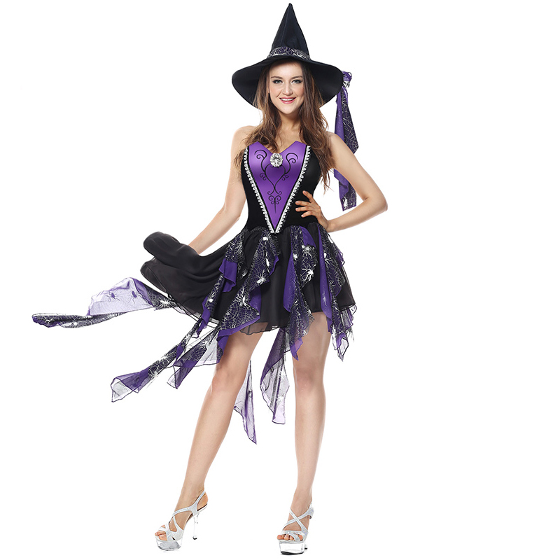 Purple Gothic Victorian Carnival Costume Adult Halloween Costumes For font b Women b font Witch Sexy