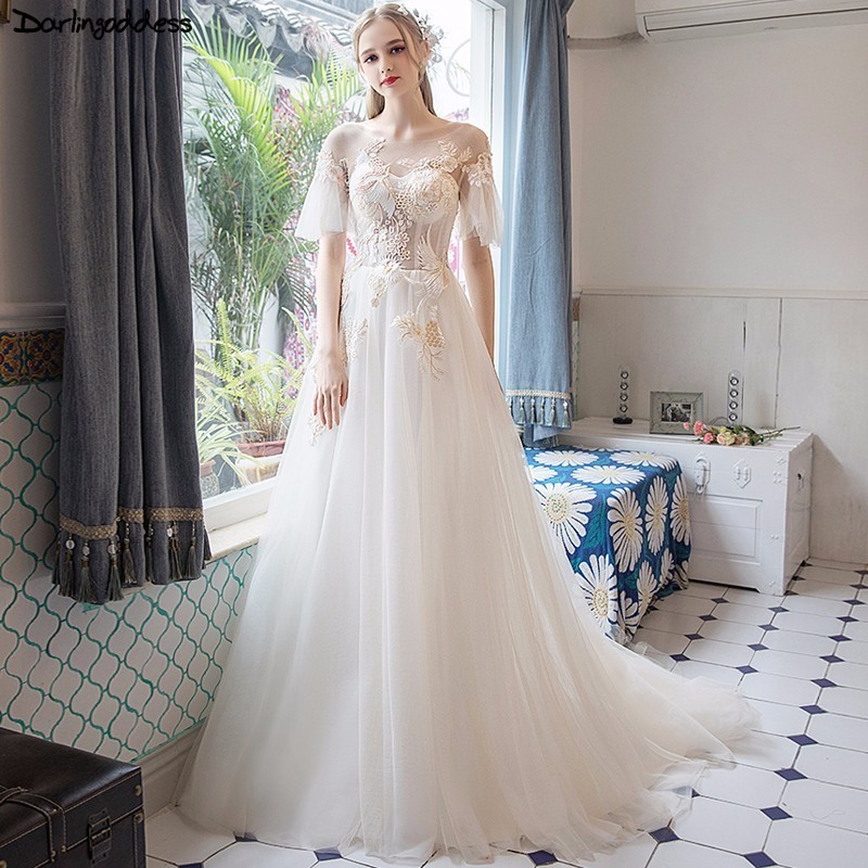 US $116.8 30% OFF|Robe De Mariage 2018 Cheap Plus Size Wedding Dress Boho  Lace Appliques Summer Beach Wedding Gowns Short Sleeves Vestido De Novia-in  ...