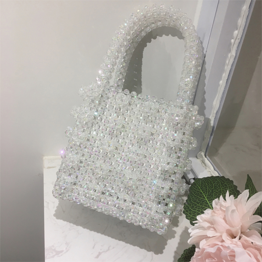 Clear Beaded Women Handbag 2018 Luxury Pearls Handmade Bags For Women Crystal Pearls Girls Evening Party Bag Fashion Casual Tote pearls beaded cable knit jumper