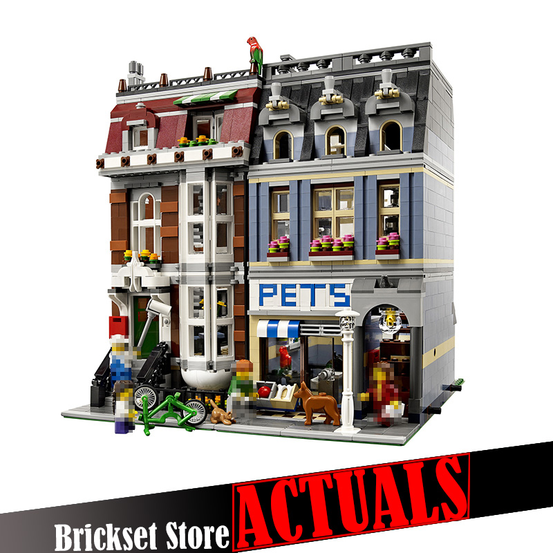 LEPIN 15009 Pet Shop Street View Creator Building Blocks Bricks Toys Educational For Children Compatible with legoINGly 10218 a toy a dream lepin 15008 2462pcs city street creator green grocer model building kits blocks bricks compatible 10185