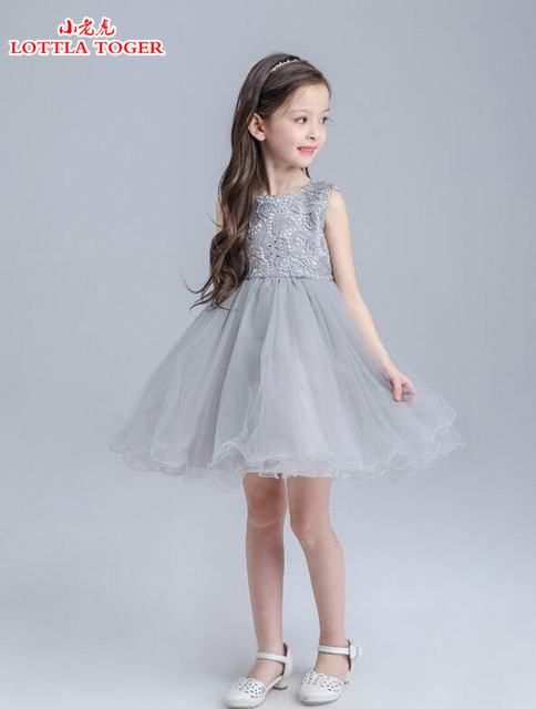 Flower girl dress wedding celebration white gray first holy lace ...