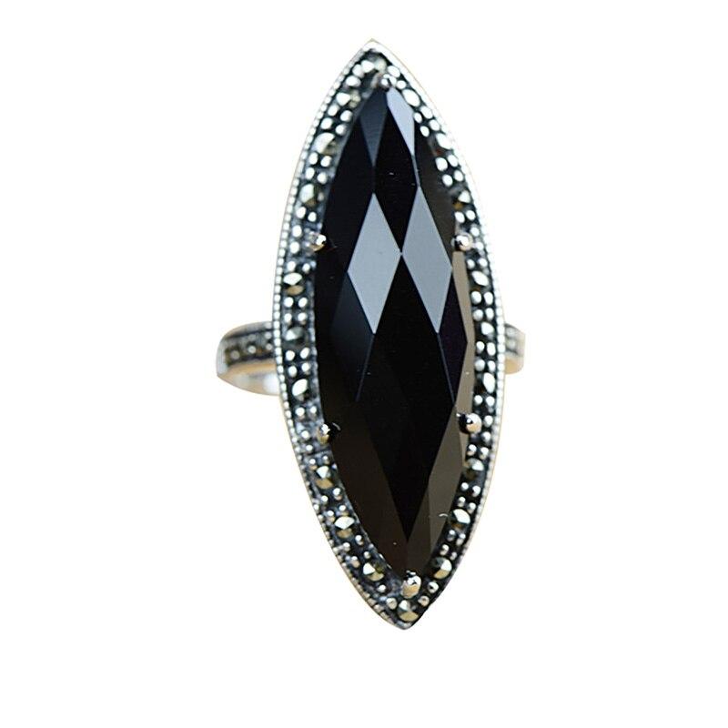 Garanti argent 925 bague Antique bagues pour femmes losange Agate noire pierre naturelle bijoux fins Anillos Mujer - 6