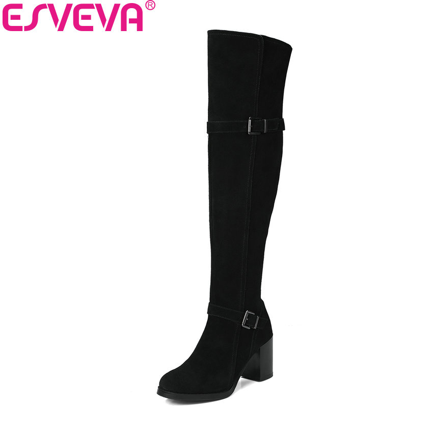 ESVEVA 2018 Women Boots High Heels Shoes Square Heels Short Plush Round Toe Elegant Over The Knee Boots Ladies Shoes Size 34-39 esveva 2018 women boots zippers black short plush pu lining pointed toe square high heels ankle boots ladies shoes size 34 39 page 5