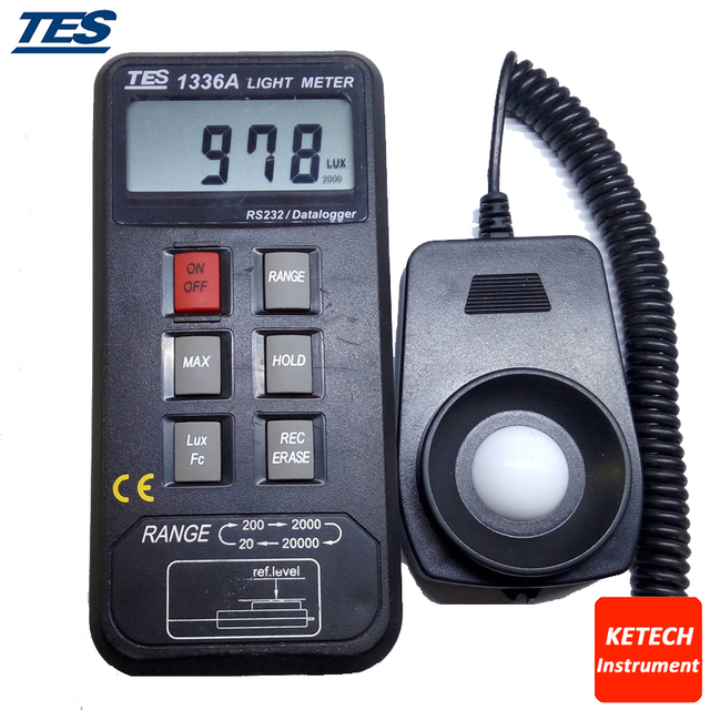 TES-1336A 16000 Point Data Logger Digital LUX Meter,Data Logging Light Meter With Memory Solar Power Meters