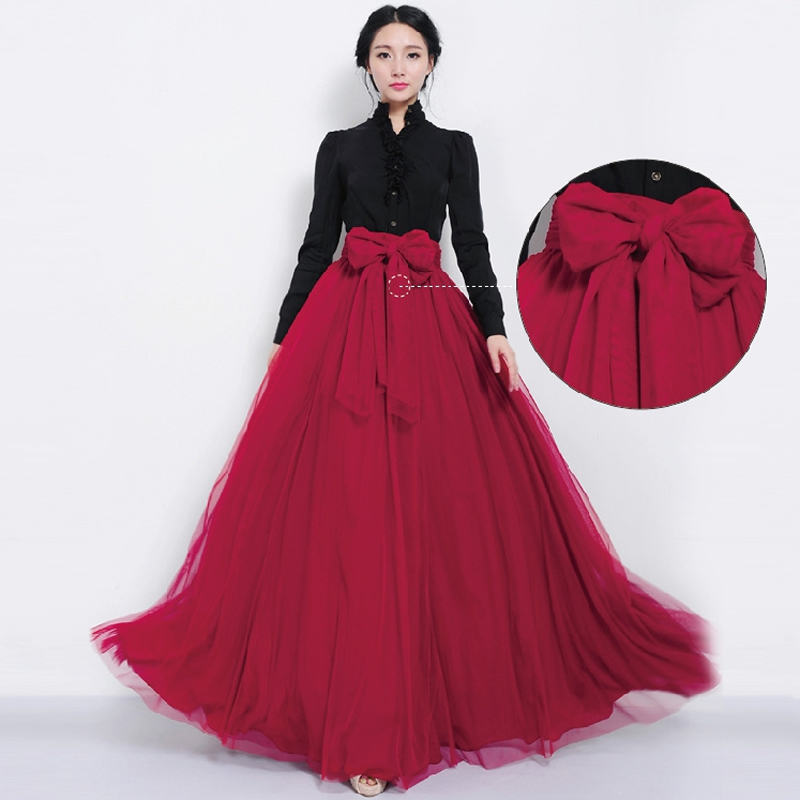 Women Summer Long Tulle Skirt Front Bowknot Bandage Multi Layer Maxi Skirts For Elegant Evening Cocktail Boho Jupe In From Womens