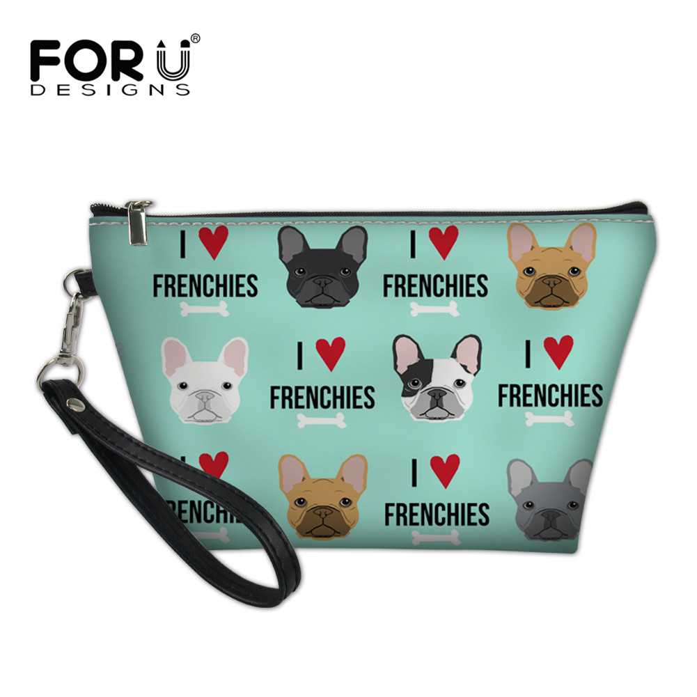 FORUDESIGNS Flower Cosmetic Bag Case Frenchies Bulldog Necessaire Travel Organizer Professional Make up Bags Beauty Makeup Box