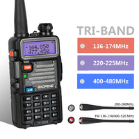 Baofeng UV 5RX3 Tri Band With 1.25M + 2 Antennas 136 174 220 225 400 520 5W VFO VHF UHF Two Way Radio Amateur Handheld Ham