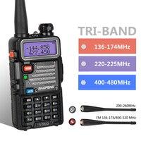Baofeng UV 5RX3 Tri Band With 1.25M + 2 Antennas 136 174 220 225 400 520 5W VFO VHF UHF Two Way Radio Amateur Handheld Ham