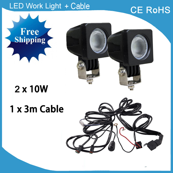 led spotlight wiring harness promotion shop for promotional led 2 piece 10w led work lights spotlights off road vehicle car truck tractor boat atv suv led work light 12v 24v added wire harness