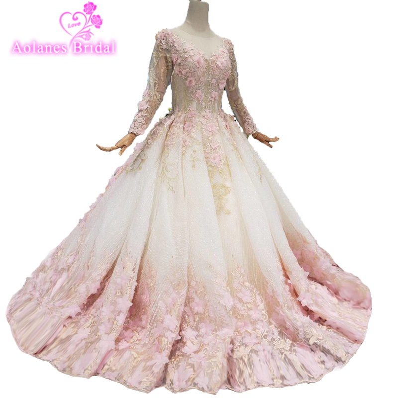 Long Puffy   Prom     Dresses   2019 Long Sleeves Top Beaded Crystals Ball Gown Backless African Pink Lace Flowers Romantic   Prom     Dresses