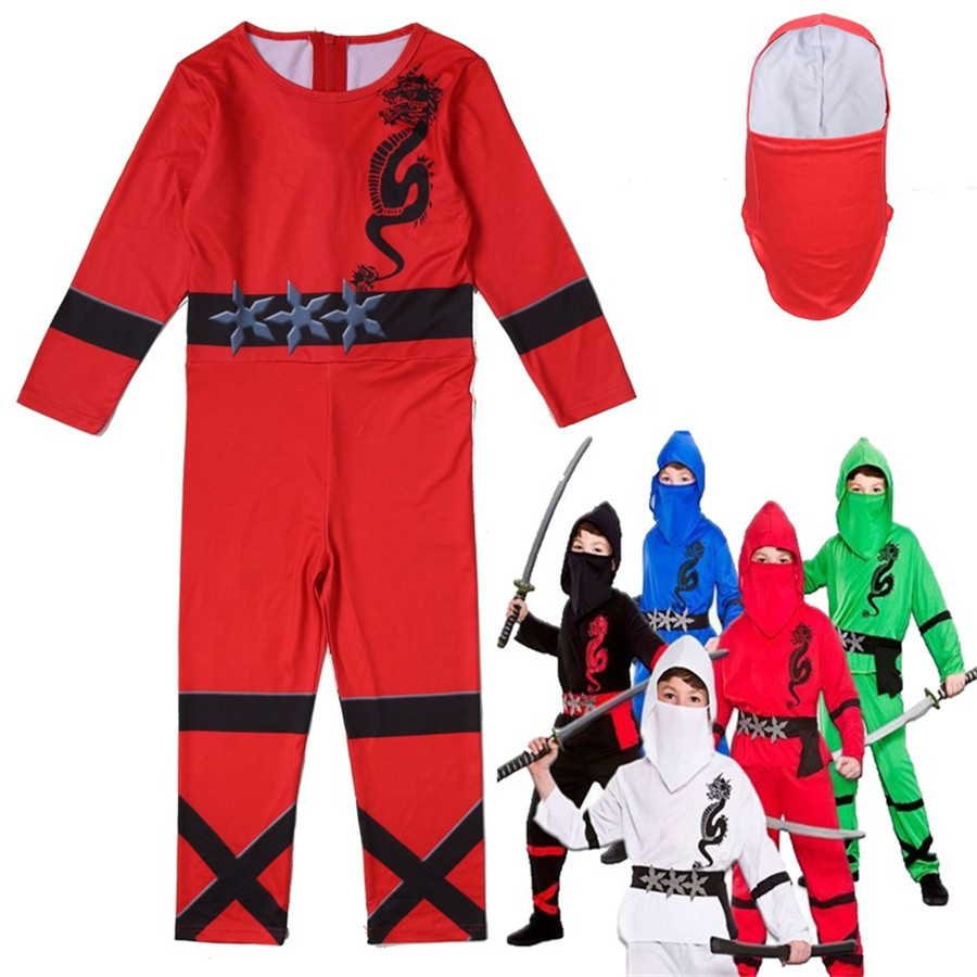 Boys Ninjago Costumes Kids Ninja Jumpsuit Children Skull Trooper Superhero Cosplay Rompers Halloween Birthday Party Clothes Set