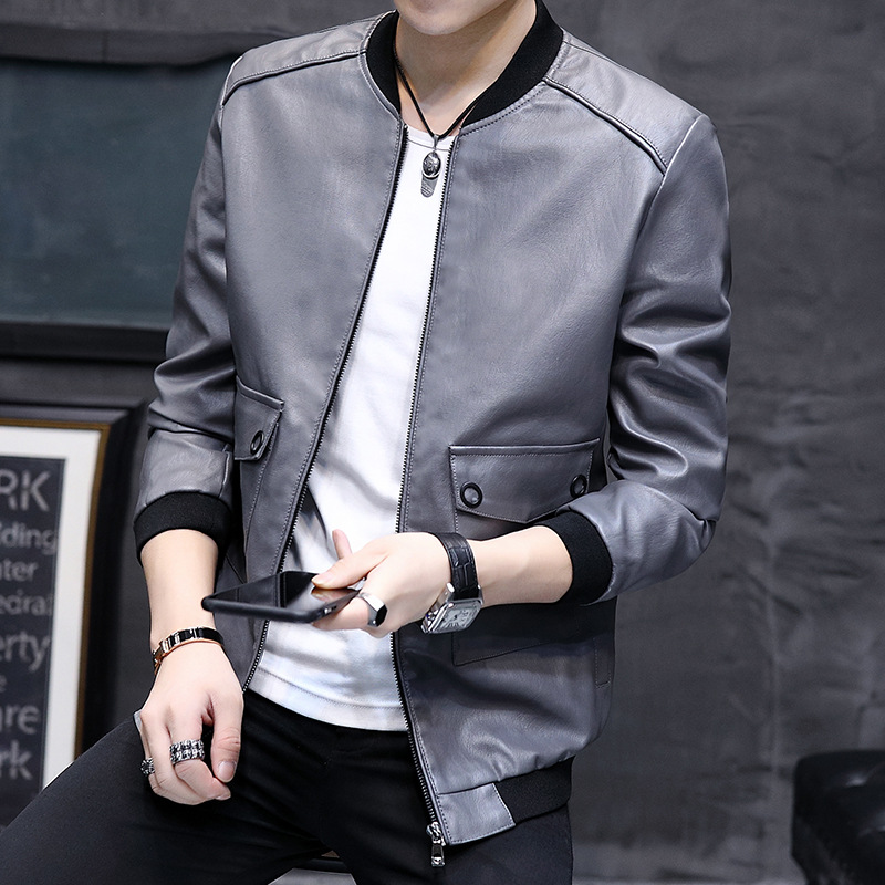 2019 autumn new mens casual leather jacket spring Korean style handsome youth PU