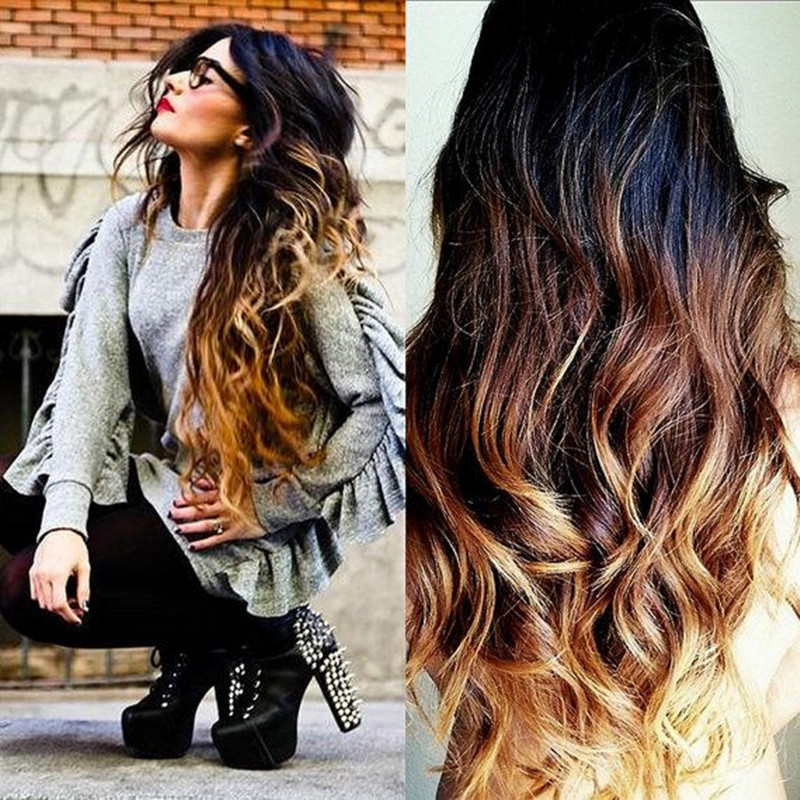 Fashion Body Wave 3 Tone Color Virgin Hair Black Ombre Blonde Full