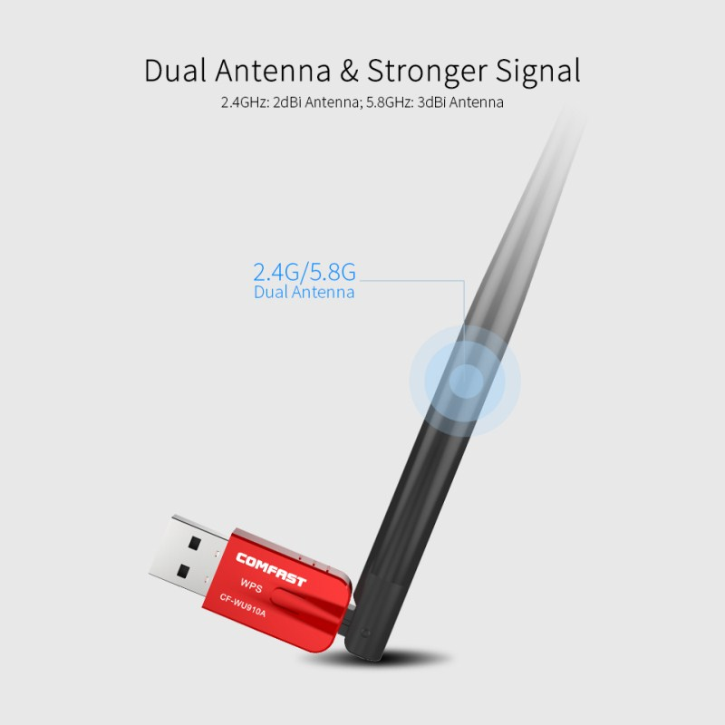 AC600 Dual Band 5.8G USB WiFi Adapter 600Mbps Wifi Receiver Wireless Pc Network Card Bluetooth 4.2 Adapter WiFi Dongle CF-WU910A