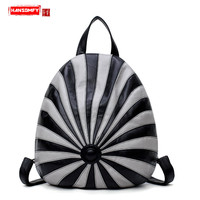 2018 new fashion casual wild dual use Women bag color Hat shape backpack PU Leather female shoulder Bags travel backpack