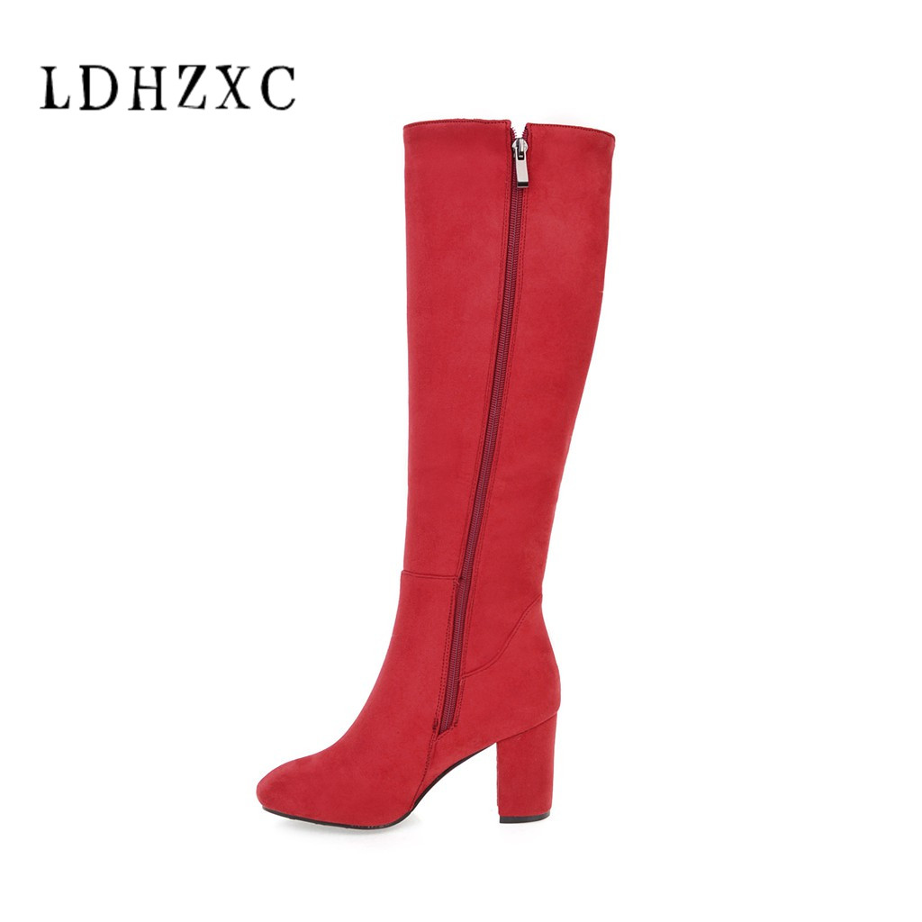 LDHZXC Mid calf boots spring autumn platform boots for women elegant fashion high heels boots solid pu large size shoes 34-45 memunia 2018 half boots for women spring autumn mid calf boots fashion elegant pu nubuck leather shoes woman party flock