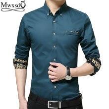 mwxsd brand casual Mens long sleeve cotton Shirt men slim Fit dress Shirt homme social shirt big size high quality 4xl 5xl
