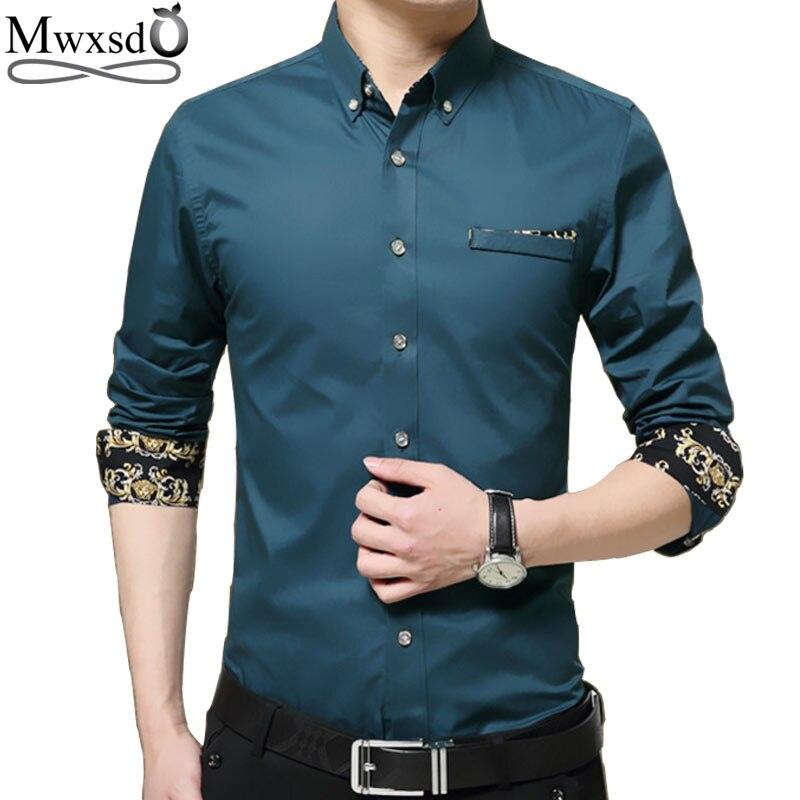 Mwxsd marca casual para hombre de manga larga camisa de algodón hombres slim fit vestido camisa homme camisa social tamaño grande de alta calidad 4xl 5xl