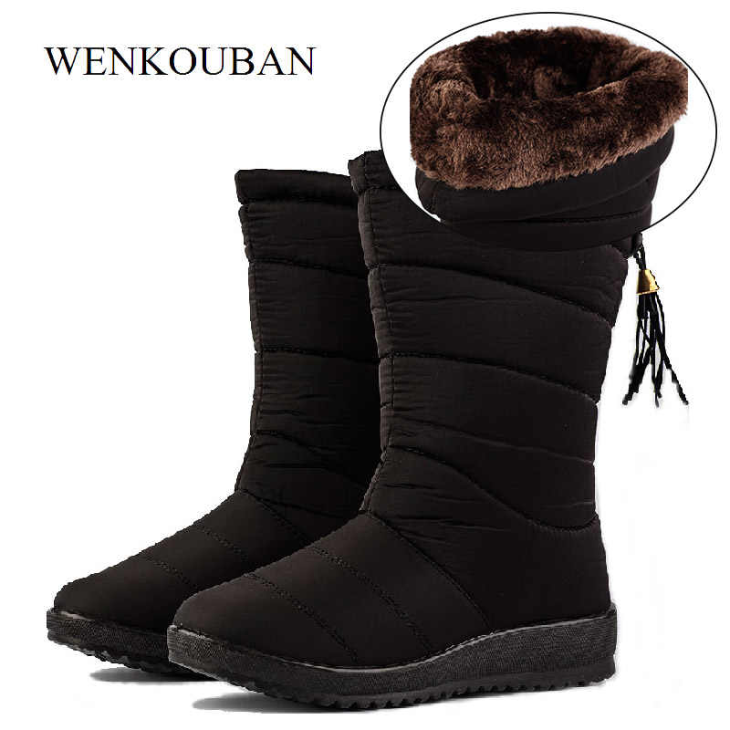 Waterproof Winter Boots Female Down Boots Women Causal Shoes Ladies Snow Bootie Wedge Rubber Plush Insole Botines Mujer 2020