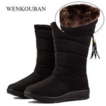 Botas de invierno impermeables botas de plumón para Mujer zapatos casuales para Mujer botas de nieve cuña de goma de felpa botas de Mujer 2019