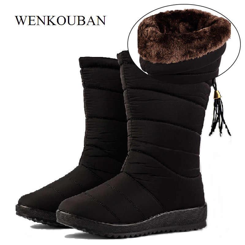 Su geçirmez kışlık botlar kadın aşağı çizmeler kadın günlük ayakkabılar bayanlar kar Bootie kama kauçuk peluş astarı Botines Mujer 2019