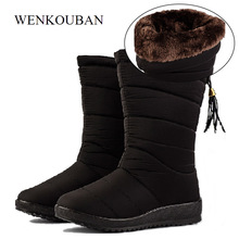 61818df79c056 Waterproof Winter Boots Female Mid-Calf Down Boots Women Causal Shoes  Ladies Snow Bootie Wedge