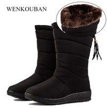 eb338f64a Botas Femininas de Inverno Mid-Calf Botas Para Baixo à prova d' água  Mulheres Causal Sapatos de Neve Senhoras Bundinha Cunha Bot.