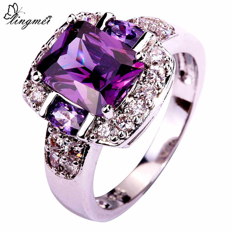 lingmei Fashion Charming Nice Women Party Jewelry Purple & White CZ Silver 925 Ring Size 6 7 8 9 10 11 12 13 Wholesale Gifts