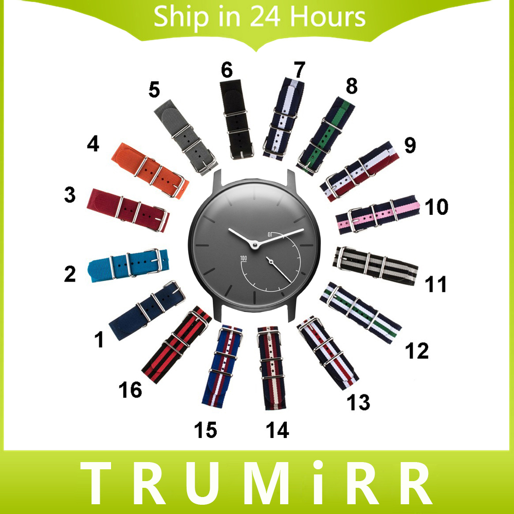 18mm Nylon Watchband for Withings Activite / Steel / Pop Fabric Watch Band Sports Wrist Strap Nato Army Bracelet Multi Colors 18mm genuine leather watchband for withings activite steel pop smart watch band wrist strap plain grain belt bracelet tool