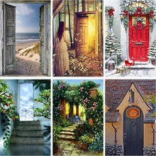 Scene Daimond Painting Door Full Drill 5d Diy Diamond Embroidery Girl Flower Garden Cross-stitch Rhinestone Home Decor Gift A24 rose daimond painting girl flower full drill 5d diy diamond embroidery feather cross stitch rhinestone home decor art gift a27