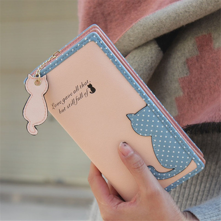 Cute Women Cat Long Purse Wallet Zipper Bags PU Leather Ladies Girls Fashion Handbags Credit Card Cash Holder Bag