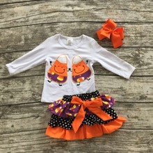 new orange Fall/winter baby girls Halloween outifits Cndy Corn clothes party sets children top with skirts with matching bows