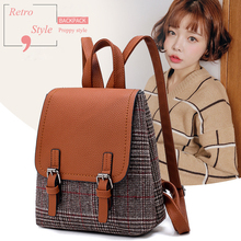 Women Preppy Backpack Tweed Rucksack Shoulder Bookbags School Bag Satchel Travel Casual Bag Tablet Female Girl Mochila